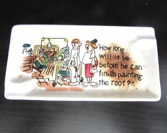 Novelty Cartoon Ashtray Ceramic Tray Numbered Retro Mid Century