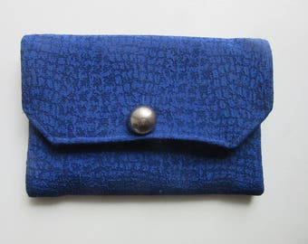 Small Fabric Clutch Bag Cosmetic Purse Royal Blue Poly Crepe Handmade 7.5 x 5.25 Inches