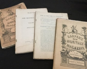 Collection of 1800s Harpers New Monthly Magazine 4 Magazines