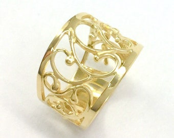 Unique Wedding Ring, Lace Ring, Gold Plated ring, Wide Band Ring, Unique Everyday Ring, Promise Ring, Filigree Band Ring, Anniversary Ring