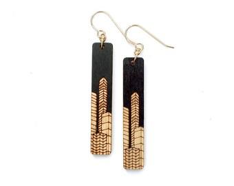 Geometric earrings, wood earrings, geometric jewelry, architecture jewelry, architectural earrings, statement earrings, skyline, wife gift