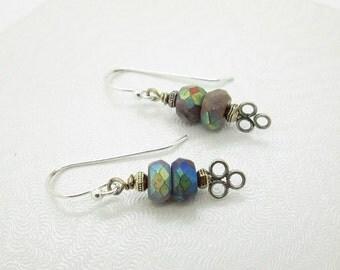 Petite Dangle Earrings, Mystic Coated Sugalite Gemstone, Sterling Silver