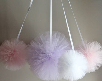 Hand Sewn and Woven Tulle Pom Pom Set, Tulle Balls, Puffs, Nursery Decor, Nursery Mobile, Birthday Decor, Baby Shower Decor, Wedding Decor