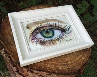 Blue Green Eye Study Mini Watercolor Painting Art By Jen Duran