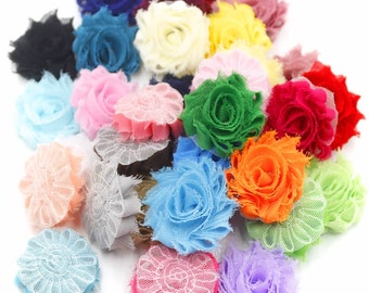 "Mini Shabby Flower- 20 pc grab bag - Shabby Flowers  1.5"" flower - DIY hair flower- Shabby trim- Frayed flowers"