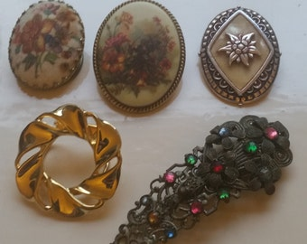 Five Vintage Dress Clips