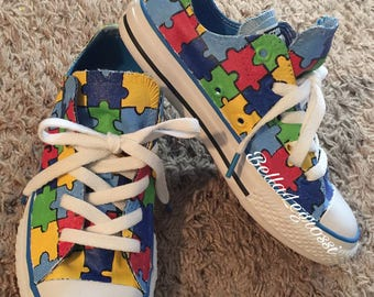 Hand Painted Autism Awareness Sneakers