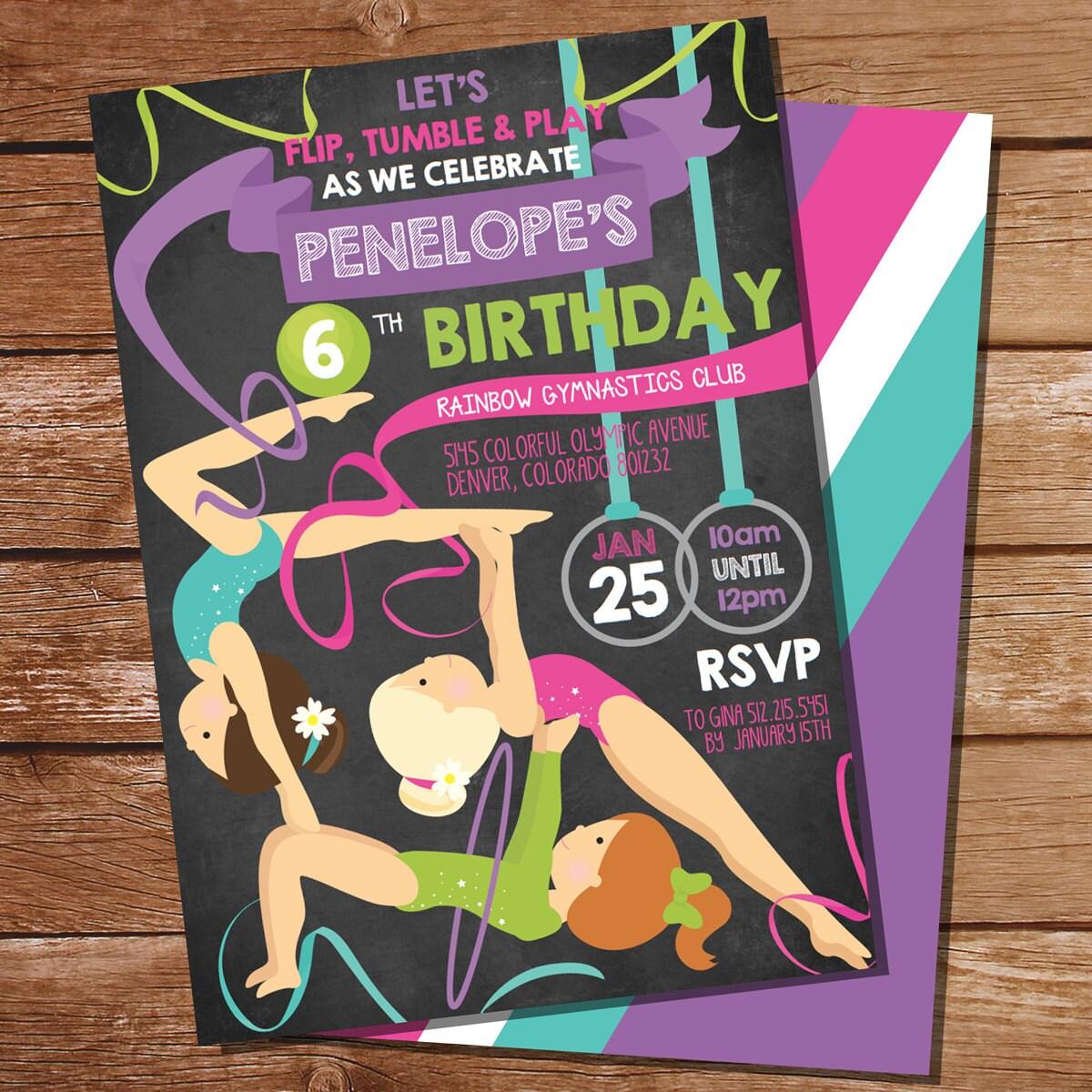 Chalkboard Gymnastics Party Invitation Gymnastic Party