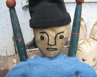 """Antique, Primitive 17"""" Rag Doll, 2 Faces, PA"""