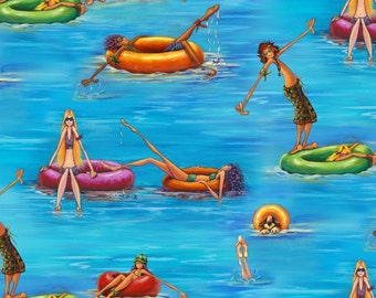 Water Tubing Fun - Summertime Collection - Elizabeth's Studio 6601-BLUE (sold by the 1/2 yard)