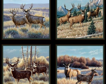 Deer Panel - Headin' Home Collection - Elizabeth's Studio 7200-BLACK (sold by the panel)