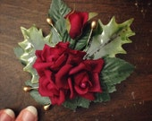 """RESERVED - Christmas Fascinator Set, Hair Clip, Wreath, Boutonniere, Holly, Red Roses, Gold Berries, Vintage Hair Set - """"One December Morn"""""""