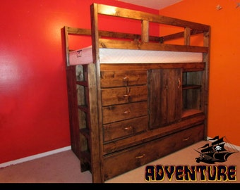 The adventure loft bed, a nautical loft bed, trundle bed, twin loft, lot's of storage, with closet, captain's bed