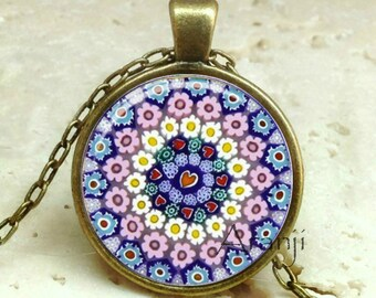 Millefiori art pendant, millefiori art jewelry, millefiori art necklace, Venetian art pendant #PA197BR