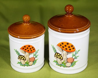 Vintage 80's SEARS ROEBUCK and CO. Mushroom Ceramic Canister Set