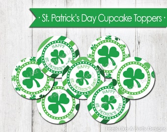 St. Patrick's Day Cupcake Toppers - Instant Download