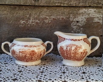 Vintage Sugar and Creamer Set, Alfred Meakin, Fairwinds, Brown Transerware, England, Serving Set, Entertaining, Holiday Set