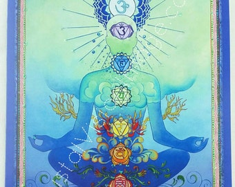 Chakra Man Blue Blend  Greeting Gift Card Art by Paul Heussenstamm    Hand Embellished