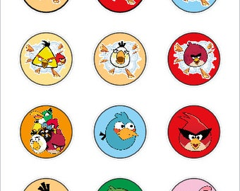 Angry Birds cupcake toppers or stickers favor tags digital download 2 inch circles collage pdf instant printable labels 22807