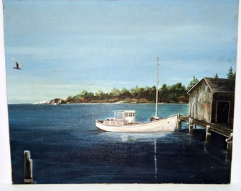 Nautical Painting Acrylic and Pastel on Board Calm Mooring Artist Signed and Dated