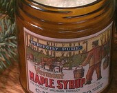 MAPLE SYRUP -  Vintage Label Natural Wax Wood Wick Candle with Black Lid 9 oz