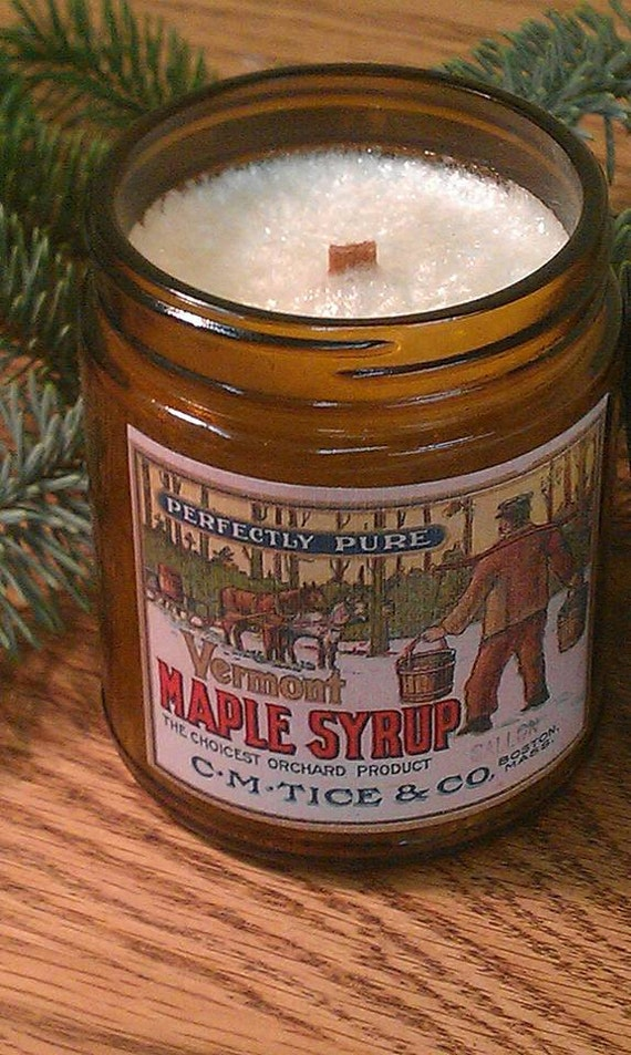 MAPLE SYRUP -  Vintage Label Natural Wax Wood Wick Candle with Black Lid 9 oz - Free Shipping in USA