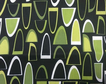 Curtain panel black white green abstract figures Modern Decor Cafe curtain Kitchen valance , runner , napkins available, great GIFT
