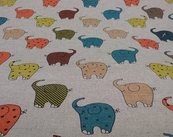 Linen tablecloth natural beige green yellow blue orange Elephants Kids room decor Eco Friendly , napkins runner pillows curtains , eco GIFT