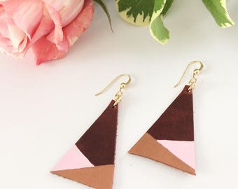 Leather earrings, handpainted earrings, painted leather, geometric earrings, dipped earrings, summer accessory, copper, pink