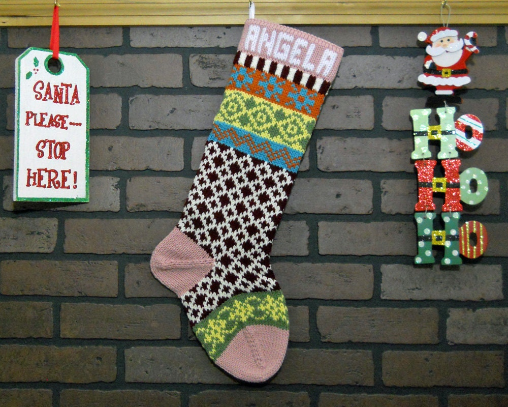 Pink Christmas Stocking Fair Isle Knit Stocking with Burgundy