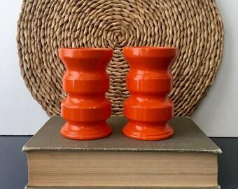 vintage orange ceramic candlesticks modern mod Royal Sealy of Japan