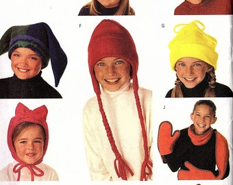 Sewing Pattern Childrens Boys Girls Winter Hat and Scarf Butterick 3317