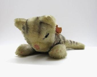 Old Steiff  Floppy Kitty | Sleeping Cat | 1950-1960 Mohair
