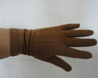 Vintage Classic Mid Brown Nylon Over Wrist Gloves with Fleece Lining - 1960s - Size UK 7 - Goodwood - Ideal for Cooler Weather/Outdoor Event