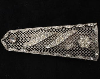 Vintage Large Silvertone and Diamante/Rhinestone Dress/Shoe/Fur Clip with Flower and Band Motifs - Art Deco/1930s