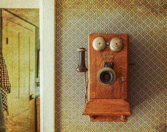 Rustic Home Decor, Farmhouse Decor, Old Telephone Print, Antique  Decor, Classic Americana, Classic old Wall Phone, Canvas Wrap or Print