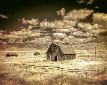 Barn Photography, Deep Sepia Color, Rustic Home Decor, Farmhouse Decor, Rustic Landscape, Country Farmhouse  Photo, Canvas Wrap or Print