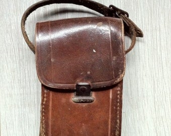 French vintage leather camera case