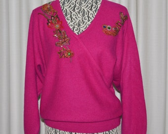 Vintage V-Neck Pullover  Wool  Angora Beaded Fuchsia Sweater 1980s