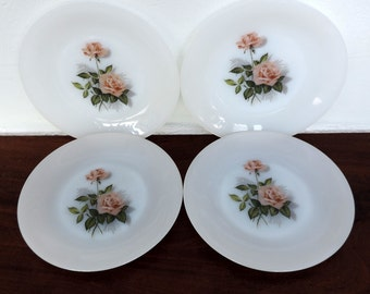 Arcopal vintage french milk glass dinner plates decorated with a red rose motif, set of 4