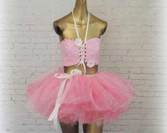 Adult tutu outfit edc edm rave outfit fair costume glitter outfit sewn tutu bandeau top tutus for adults costume for adults