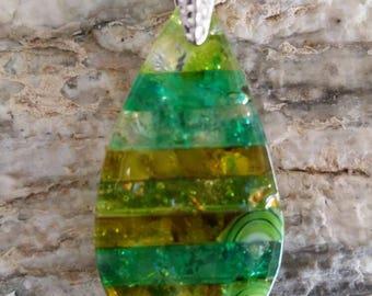Teardrop, Fused glass pendant, Art glass jewerly, Everyday necklace, Murrini, Multi green