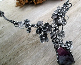 necklace with raw fluorite