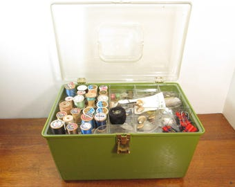 Three Tier Vintage Sewing Box with Sewing Supplies, Wil-hold Green Sewing Case