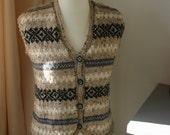 100% pure merino wool hand knitted retro button through Fair Isle waistcoat