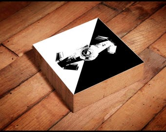 Star Wars Tie Fighter Reclaimed Wood Block Art Piece