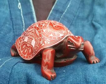 Red Sacred Turtle Tibetan Resin Statue