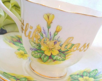 LIKE A BOSS Classic Yellow/English Bone China Tea Cup and Saucer/ funny teacup