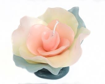 Vintage Small Pink & Green Flower Candle Handmade Wax Sculpture