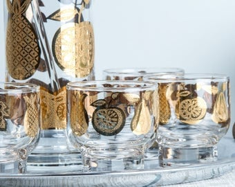 Culver Cocktail Set Florentine Martini Pitcher and Glasses